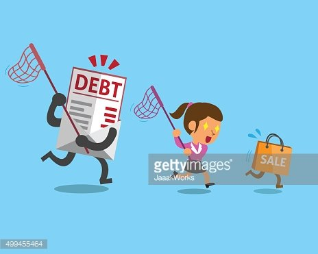 Businesswoman with shopping bag and debt letter