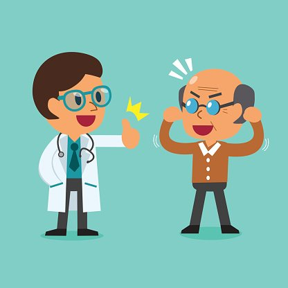 Cartoon doctor and old man