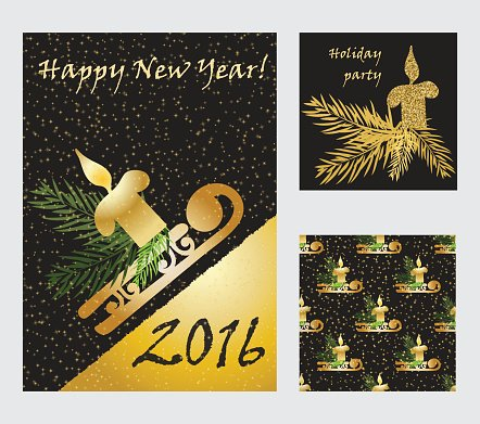 Holiday cards collection with golden glitter texture.