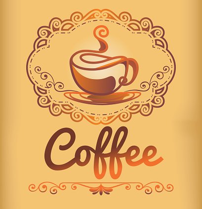 Coffee logo template with stylized cup, retro style