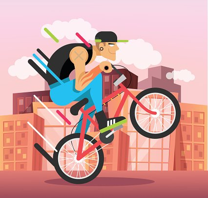 Young guy on bicycle. Vector flat illustration