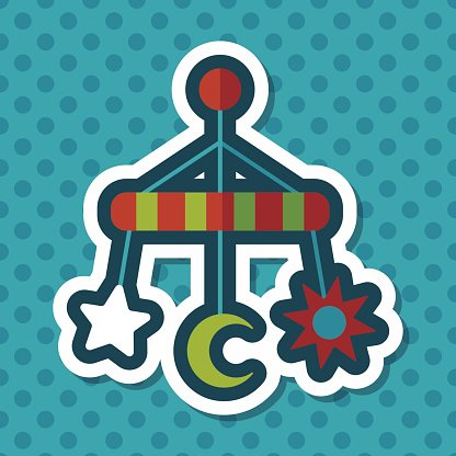 Baby crib hanging toy flat icon with long shadow