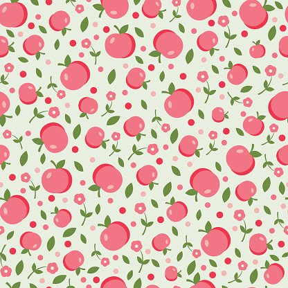 Seamless pattern with apples and flowers