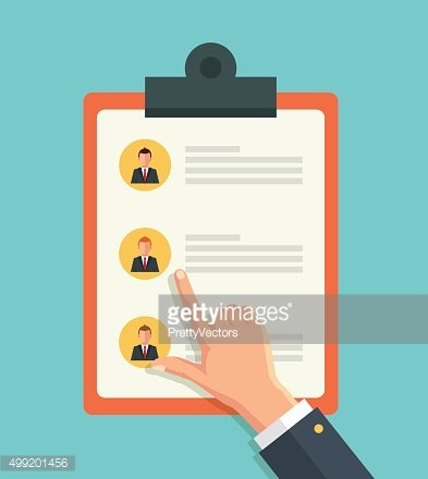 Pointing hand and hand with list of job applicants