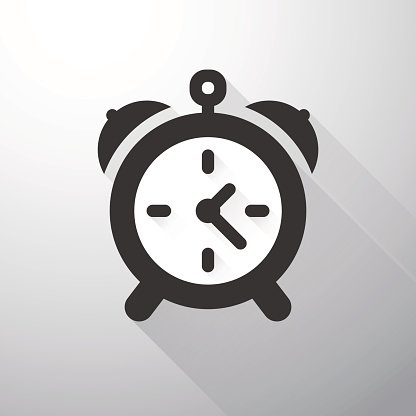 Simple alarm icon with long shadows