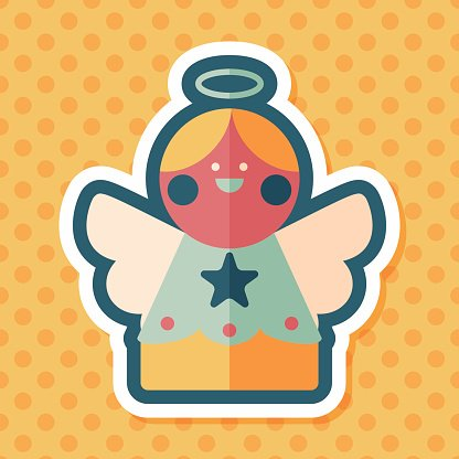 angel flat icon with long shadow, eps10