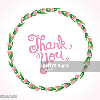 Thank you with wreath of flowers