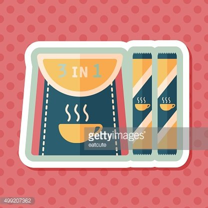 3 in 1 coffee flat icon with long shadow,eps10