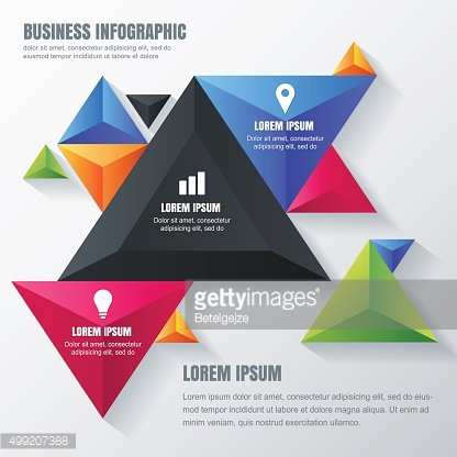 Vector business infographic design template with colorful triangle pyramids.