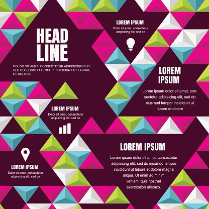 Vector universal design template with abstract flat geometric background.