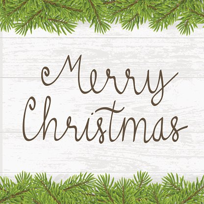 Christmas hand written greeting card with twig frame