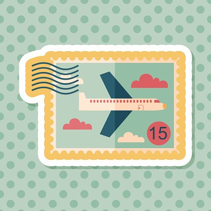 Aircraft stamp flat icon with long shadow,eps10