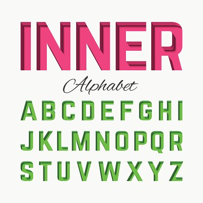 Alphabet letters with inner shadow