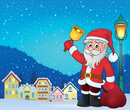 Santa Claus with bell theme image 3