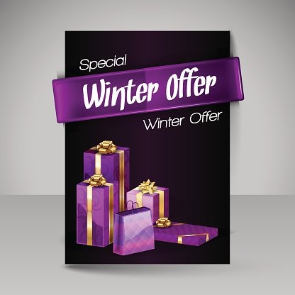 Vector Brochure Design Template with Purple Christmas Gifts.