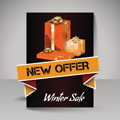 Vector Brochure Design Template with Orange Christmas Gifts.