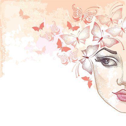 Dotted beautiful woman face on the background with pink butterflies