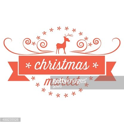 red christmas vector badge with reindeer and text ribbon