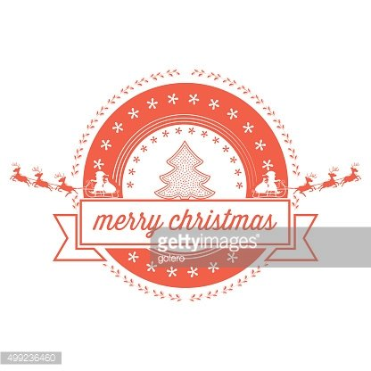 christmas badge with santa sleigh and text ribbon