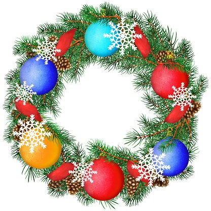 Watercolor pine tree wreath with balls, snowflakes, ribbon