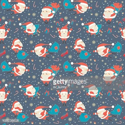Seamless Christmas pattern with Cute Santa Claus, presents