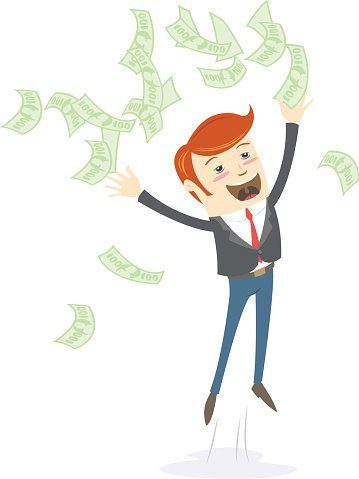 Happy office man hipster throwing money