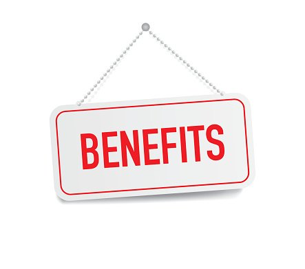 Benefits hanging sign isolated on white wall