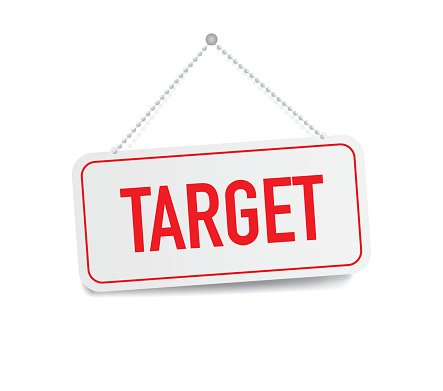 Target hanging sign isolated on white wall