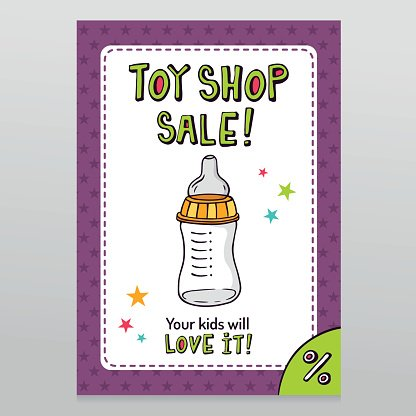 Toy shop vector sale flyer design with feeding bottle