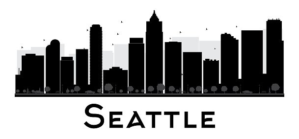 Seattle City skyline black and white silhouette.