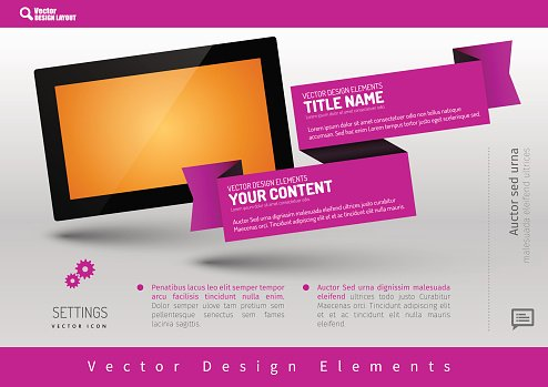 Business banner with modern display. Vector design elements for