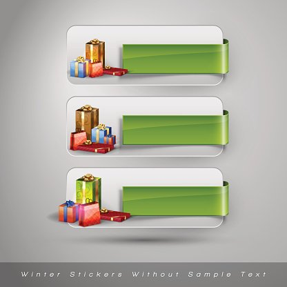 Winter stickers with gifts. Vector design elements without text.