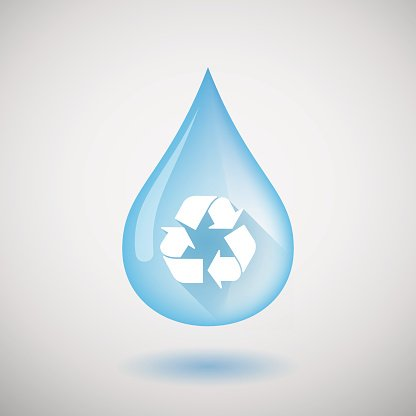 Water drop with a recycle sign