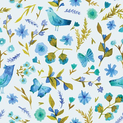 Watercolor seamless pattern with flowers, leaves, birds and butterfly.