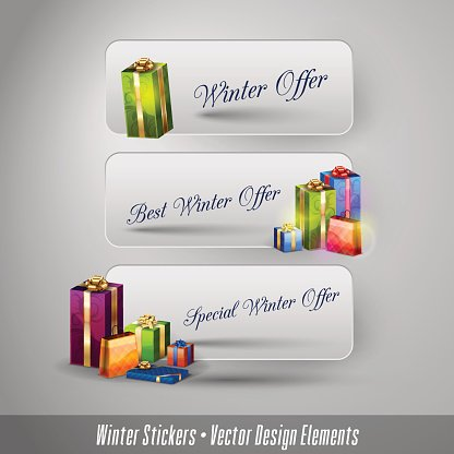 Business winter stickers with gifts. Vector design elements.