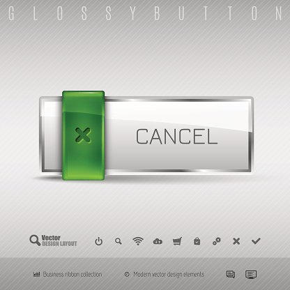 Vector design elements Green and gray glossy button
