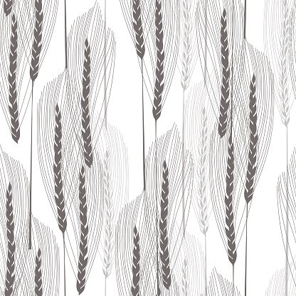 Floral seamless pattern with abstract ears of grain.