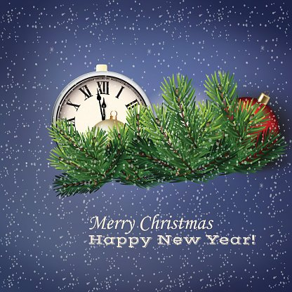 Illustration of clock and Christmas decorations