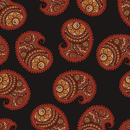 Hand drawn seamless Paisley pattern. Doodle style