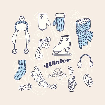 Set of hand drawn winter accessories. Frosty ornament background