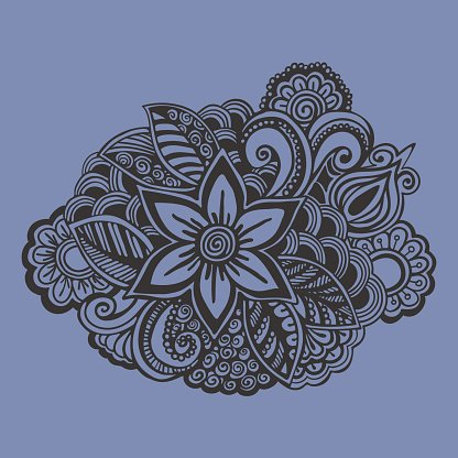 Hand drawn Flower ornament. Doodle style