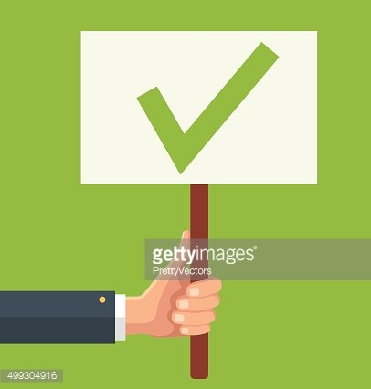 Hands holds sign with green tick. Vector flat illustration