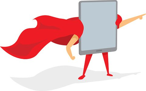 Tablet super hero standing with cape