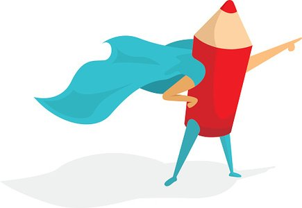 Super hero artist or pencil standing proud and pointing