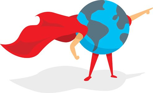 Planet earth super hero with cape