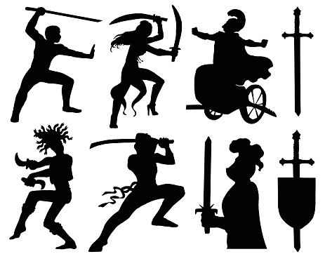 Set with warriors silhouettes