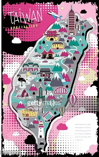 colorful Taiwan travel map