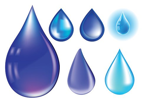 Blue realistic vector water drop set isolated on white background