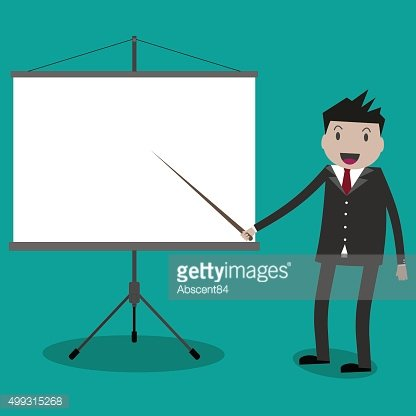 businessman with projector screen.