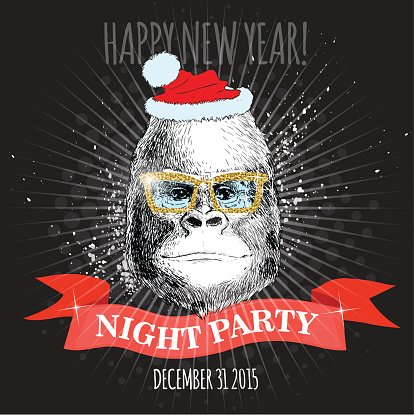 Gorilla monkey Hipster with glitter glasses and Christmas hat